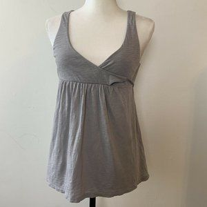 J. CREW GRAY WRAP FRONT BABY-DOLL TOP XS